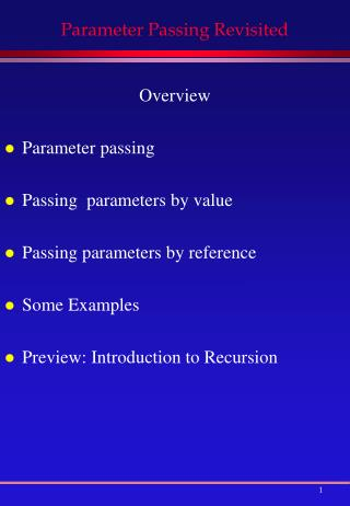 Parameter Passing Revisited