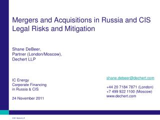 IC Energy Corporate Financing in Russia & CIS 24 November 2011