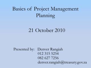 Basics of Project Management Planning