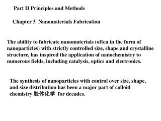Chapter 3  Nanomaterials Fabrication