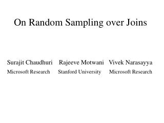 On Random Sampling over Joins