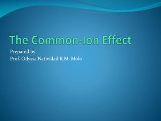 The Common-Ion Effect