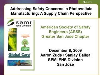 Addressing Safety Concerns in Photovoltaic Manufacturing: A Supply Chain Perspective