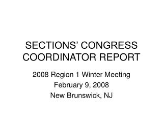 SECTIONS' CONGRESS COORDINATOR REPORT