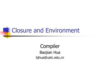 Closure and Environment