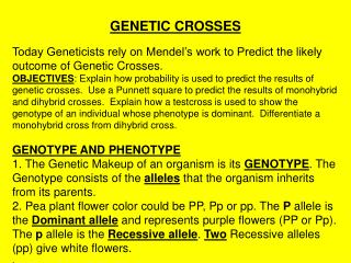 GENETIC CROSSES
