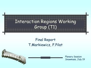 Interaction Regions Working  Group (T1)