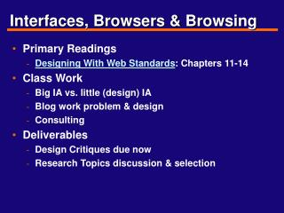 Interfaces, Browsers & Browsing