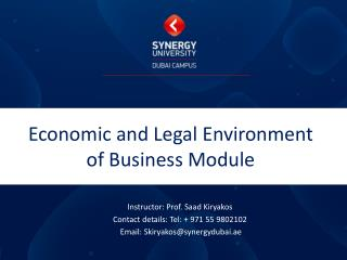Economic and Legal Environment of Business Module
