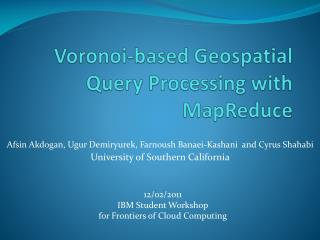 Voronoi-based Geospatial Query Processing with MapReduce