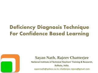 Deficiency Diagnosis Technique For Confidence Based Learning