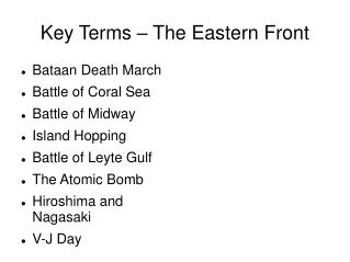 Key Terms – The Eastern Front