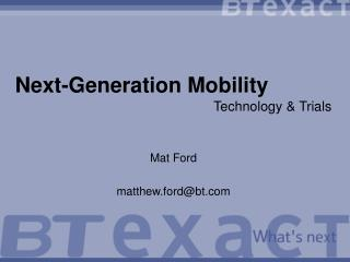 Next-Generation Mobility