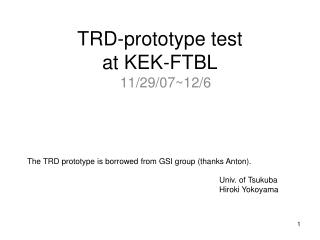 TRD-prototype test at KEK-FTBL