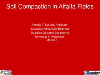 Soil Compaction in Alfalfa Fields