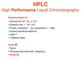 HPLC High  Performance  Liquid Chromatography