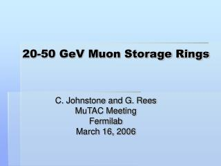20-50 GeV Muon Storage Rings