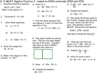 Yr 11 MCAT Algebra Practice 3 – based on NCEA externals 2009 and 2010