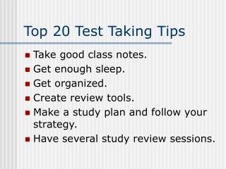 Top 20 Test Taking Tips