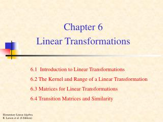Chapter 6 Linear Transformations