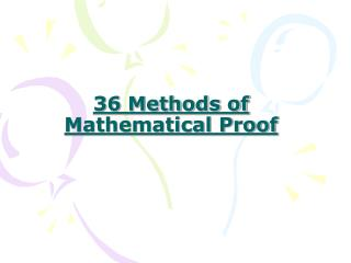 36 Methods of Mathematical Proof