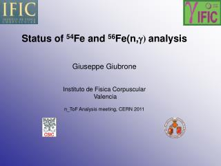Status of  54 Fe and  56 Fe(n, g )  analysis Giuseppe Giubrone Instituto de Fisica Corpuscular