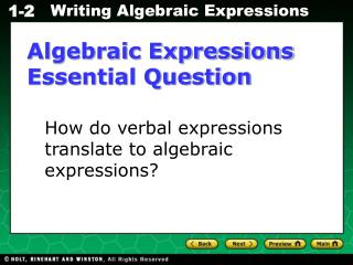 Algebraic Expressions Essential Question