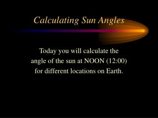 Calculating Sun Angles