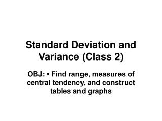 Standard Deviation and Variance (Class 2)