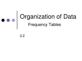 Organization of  Data Frequency Tables
