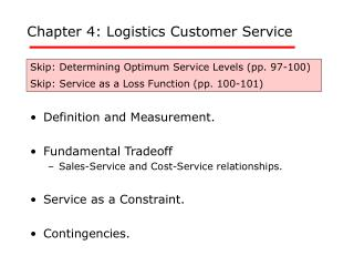 Chapter 4: Logistics Customer Service