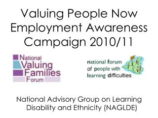 Valuing People Now Employment Awareness Campaign 2010/11