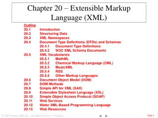 Chapter 20 – Extensible Markup Language (XML)