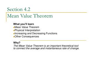 Section 4.2  Mean Value Theorem