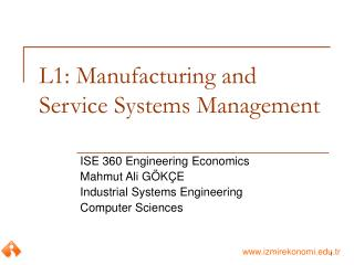 L1: Manufacturing and Service Systems Management