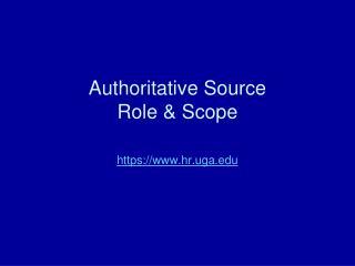 Authoritative Source Role & Scope