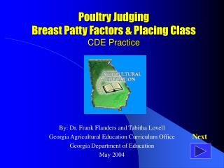 Poultry Judging  Breast Patty Factors  Placing Class CDE Practice