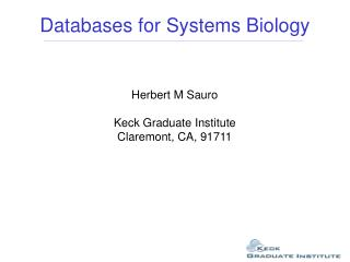 Databases for Systems Biology