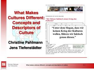 What Makes Cultures Different: Concepts and Descriptors of Culture