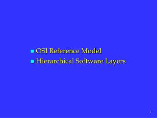 OSI Reference Model  Hierarchical Software Layers
