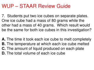 WUP – STAAR Review Guide