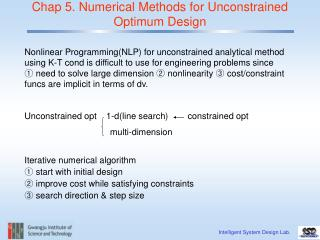 Chap 5. Numerical Methods for Unconstrained Optimum Design