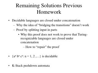 Remaining Solutions Previous Homework