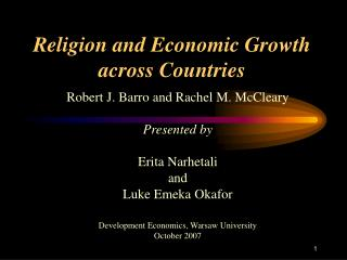 Religion and Economic Growth  across Countries