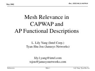 Mesh Relevance in  CAPWAP and  AP Functional Descriptions