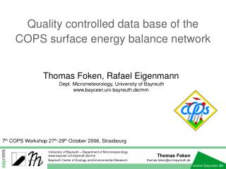 Quality controlled data base of the COPS surface energy balance network