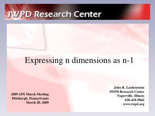 Expressing n dimensions as n-1