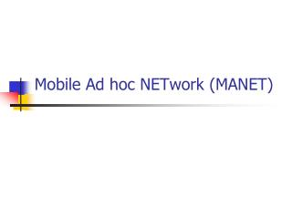 Mobile Ad hoc NETwork (MANET)