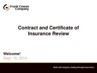 Contract and Certificate of Insurance Review