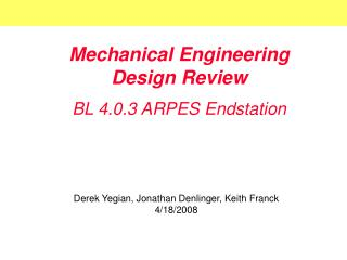 Mechanical Engineering Design Review